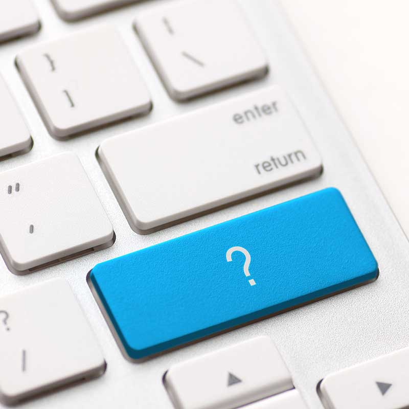 Keyboard with a question mark in place of the Enter key